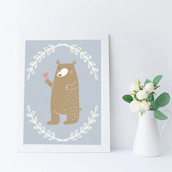 Kawaii Bear Art Print, Woodland Nursery Printable, Instant Download, Kids Room Wall Art, Bear Decor