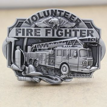 Fire Fighter Truck Volunteer Eagle Fireman Kit Western Silver Rodeo Belt Buckle Belt Buckle Clothes 2017 New