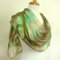 Hand Painted Silk Scarf - Woodland Scroll - Nuno Felted Silk and Wool Stole