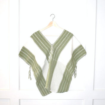 woven hippie blouse / BOHO relaxed fit GRUNGE mexican serape southwestern HIPPIE top