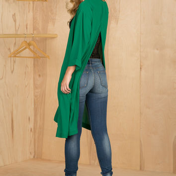 Back Slit Cardigan (Green)- FINAL SALE