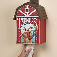 Farmers' Market Plastic Bag Dispenser Barn Shaped Rooster Hen Country Kitchen