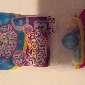 3 PACK SQUINKIES WITH CARRY BAG & 24 STICKERS