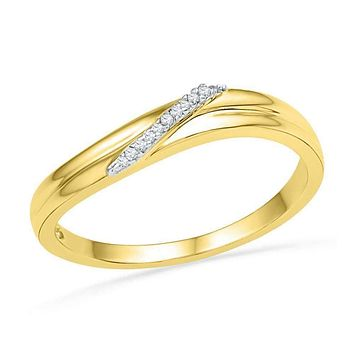 10kt Yellow Gold Women's Round Diamond Simple Single Row Band Ring .03 Cttw - FREE Shipping (US/CAN)