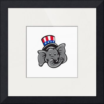 """Republican Elephant Mascot Head Top Hat Cartoon"" by Aloysius Patrimonio"
