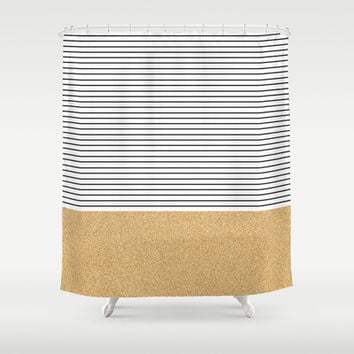 Minimal Gold Glitter Stripes Shower Curtain by Allyson Johnson
