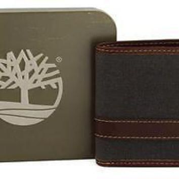 New Timberland Men's Canvas & Leather Hunter Pass case Billfold Wallet