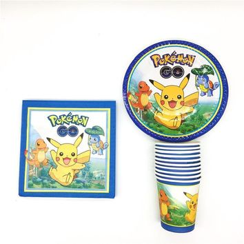Cartoon  Go 40Pcs Kids Birthday Party Paper 20Pcs Napkins+10Pcs Cups+10Pcs Plates For Event Party Supplies DecorationKawaii Pokemon go  AT_89_9