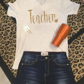 Teacher heart on oatmeal v neck with gold glitter t-shirt