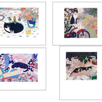 Artists Blank Note Cards, Cats,  4-Pack