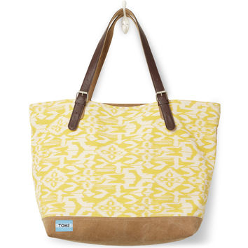 TOMS saffron ikat canvas coastal tote bag