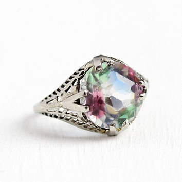 Iris Glass Ring - Vintage Art Deco 18k White Gold Filigree - 1920s Size 5 1/4 Rainbow Green Pink Blue Glass Solitaire Fine Jewelry for Her