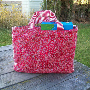Red White Blue Tote Bag Reusable Grocery Bag Ready to ship Shopping Bag