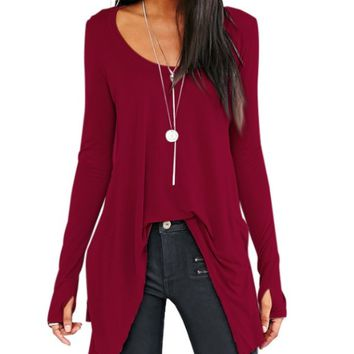 Asymmetrical Hem  Round Neck Shirt