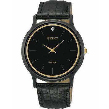 Seiko Solar Diamond Mens Watch - Black Case - Black Dial  - Black Leather Strap
