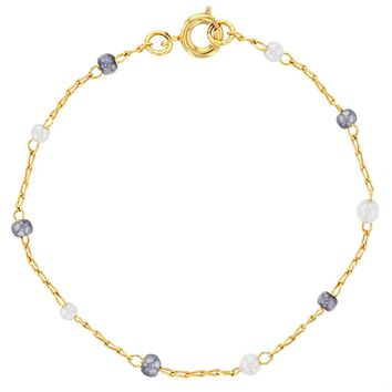 """18k Gold Plated Gray White Simulated Pearl Bracelet Thin Chain for Girls 6"""""""