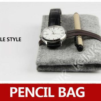 Minimalist Wool Felt Pencil Bag / Glass Pocket, Vintage Simple Style Grey Plush Pencil Bag for Office and School