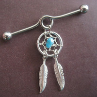Industrial Piercing Barbell Dream Catcher Feather Charm Genuine Turquoise Dreamcatcher Dangle 14 Gauge 14g G Bar