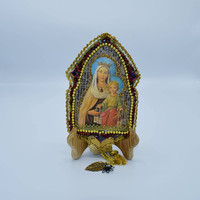 Mary & Jesus Wall Hanging with Gold Rope Charms Vintage Mary Jesus Ornament Catholic Devotion Religious Ornament Wall Art Christian Decor