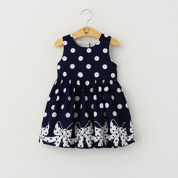 Fancy Polka Dot Sleeveless Casual Dress for Kids & Toddlers
