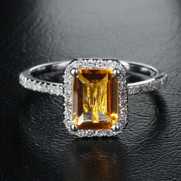 VS 6x8mm Emerald Cut Citrine 14K White Gold .29ct Diamond Halo Engagement Ring