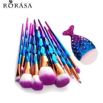 11Pcs Mermaid Fish Tail Shaped Diamond Rose Gold Makeup Brush Set Foundation Powder Cosmetics Brush Rainbow Eyeshadow Brushes 30