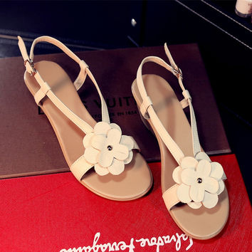 Stylish Design Summer Leather Floral Wedge With Heel Sandals [6044928705]