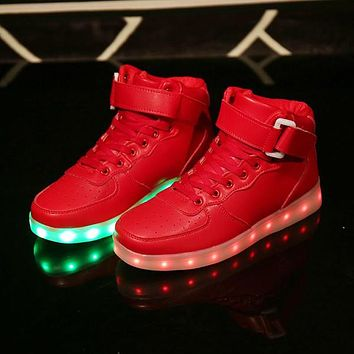 Christmas basketball shoes Led Shoes Man USB Light Up Unisex Sneakers Lovers For Adults Boys Casual Students Sports gold shoes