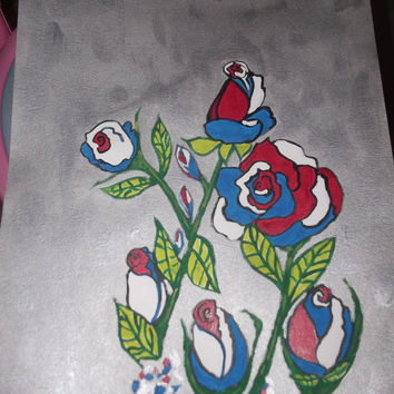 Beautiful One of A Kind Red White and Blue Patriotic Roses Acrylic Abstract Art Painting Limited Edition