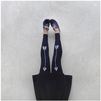 High Waisted Leggings - Black with White Arrows - The Artemis - CLOSEOUT
