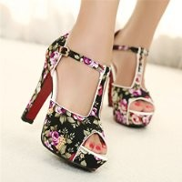 MagicPieces Women's T Bar Floral Print Strap Peep Toe Heeled Sandals 040746 ADP 0705 Color Black US 5