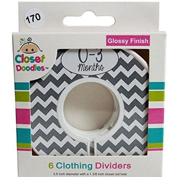 Closet Doodles Gray Chevron Gender Neutral Baby Clothing Dividers Set of 6 Fits 1.25inch Rod (Ranged Months)