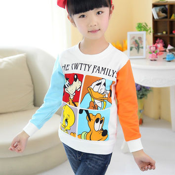 100% High Quality Cotton Thick for spring autumn long sleeve t shirt girl boy t-shirt kid clothes for 90-130cm child