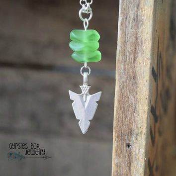 Sea Glass & Sterling Silver Arrowhead Necklace