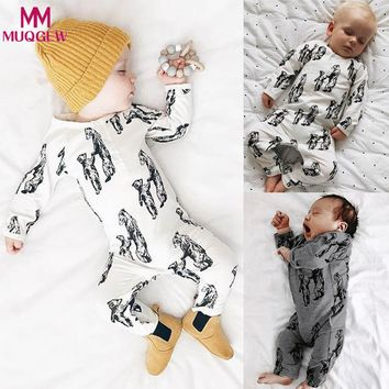 Newborn Rompers Autumn Cartoon Bear Infant Baby Clothes Animal Printed Long-sleeve Girls Boys Jumpsuit Kids One Pieces Romper