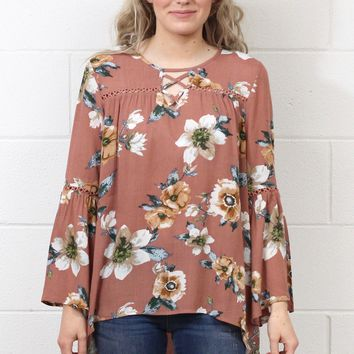 Hello Lovely Strappy Floral Blouse {Ginger}