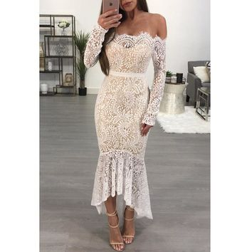 Women Temperament Fashion Long Sleeve Off Shoulder Lace Perspective Strapless Irregular Maxi Dress