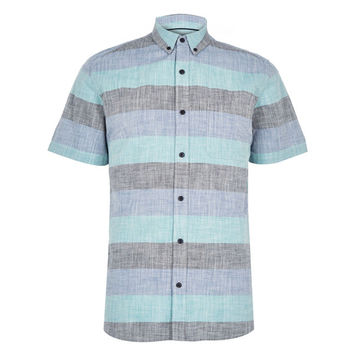 Fresh Blue Short Sleeve Button-Up