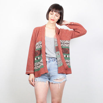 Vintage Hippie Sweater Boho 1970s Wrap Cardigan Sienna Brown Green Southwestern Ethnic Knit Light Sweater Jacket 70s Jumper S Small M Medium
