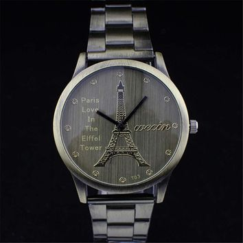 Fashion Women Mens Eiffel Tower Retro Copper Steel Strap Watch Best Christmas Gift