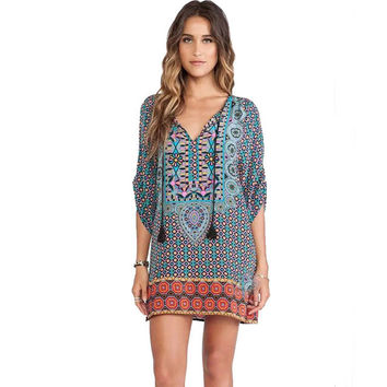 Feitong 2016 Summer Style Dress African Dashiki Boho Women Casual Baroque Floral Print Chffion Beach Dress Hippie Vestidos robe