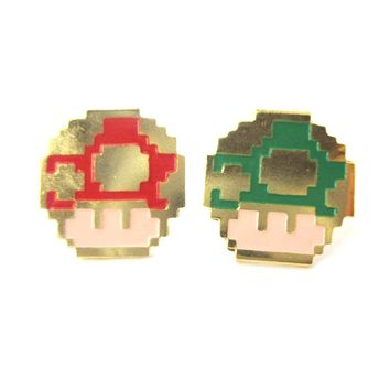 Super Mario Themed Mushroom Powerup Shaped Stud Earrings in Red and Green | Limited Edition Jewelry