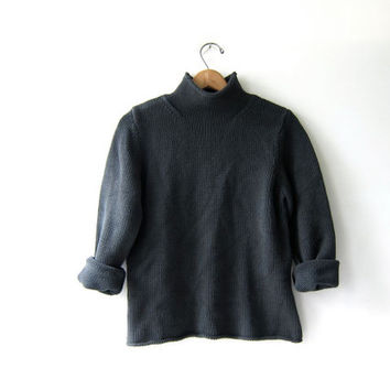 vintage dark gray cropped sweater. slouchy sweater. cotton knit sweater.