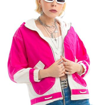 Vintage 90's Magenta Two-Tone Hooded Jacket - XS/S