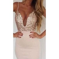 Oh So Fine Ivory Gold Geometric Sequin Spaghetti Strap Plunge V Neck Bodycon Mini Dress