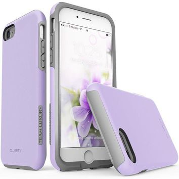 DCK4S2 iPhone 7 Case, iPhone 8 Case, TEAM LUXURY [Clarity Series] UPDATED G-II Purple Ultra Defender TPU + PC [Shock Absorbent] Premium Protective Case - for Apple iPhone 7 & iPhone 8 (Lavender/ Gray)