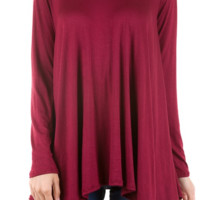 Best In Basic Long Sleeve Tee-Wine