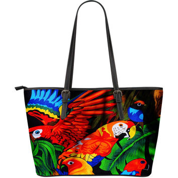 Large Leather Parrot Tote Diaper Bag