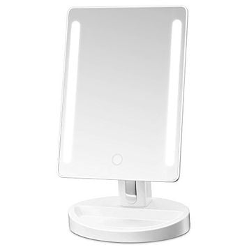 RICHEN DeWEISN Tri-Fold Lighted Vanity Makeup Mirror with 21 LED Lights, Touch Screen and 3X/2X/1X Magnification Mirror, Two power Supply Mode Tabletop Makeup Mirror,Travel Cosmetic Mirror (Rose Gold)