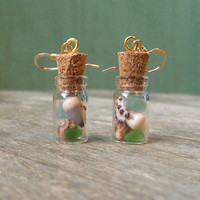 Gold Fill Jar Earrings,Gold Fill Drops,Hand Picked Hawaiian Shells,Beach Treasure Jar,Shell Cork Jar,Sea Glass Cork Jar,Mermaid Tears Jar
